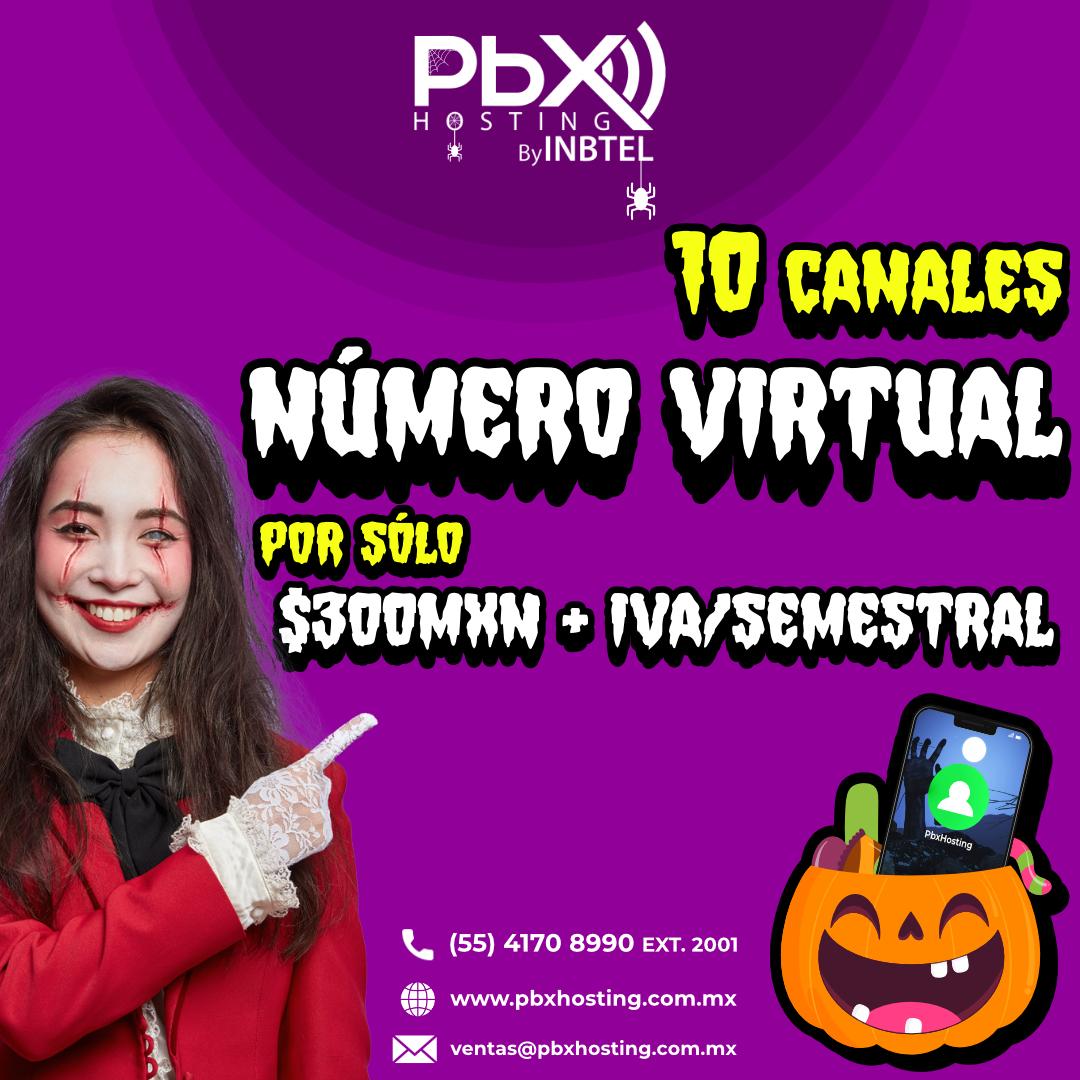 Número Virtual de 10 canales a $300.00 MXN/ Semestral